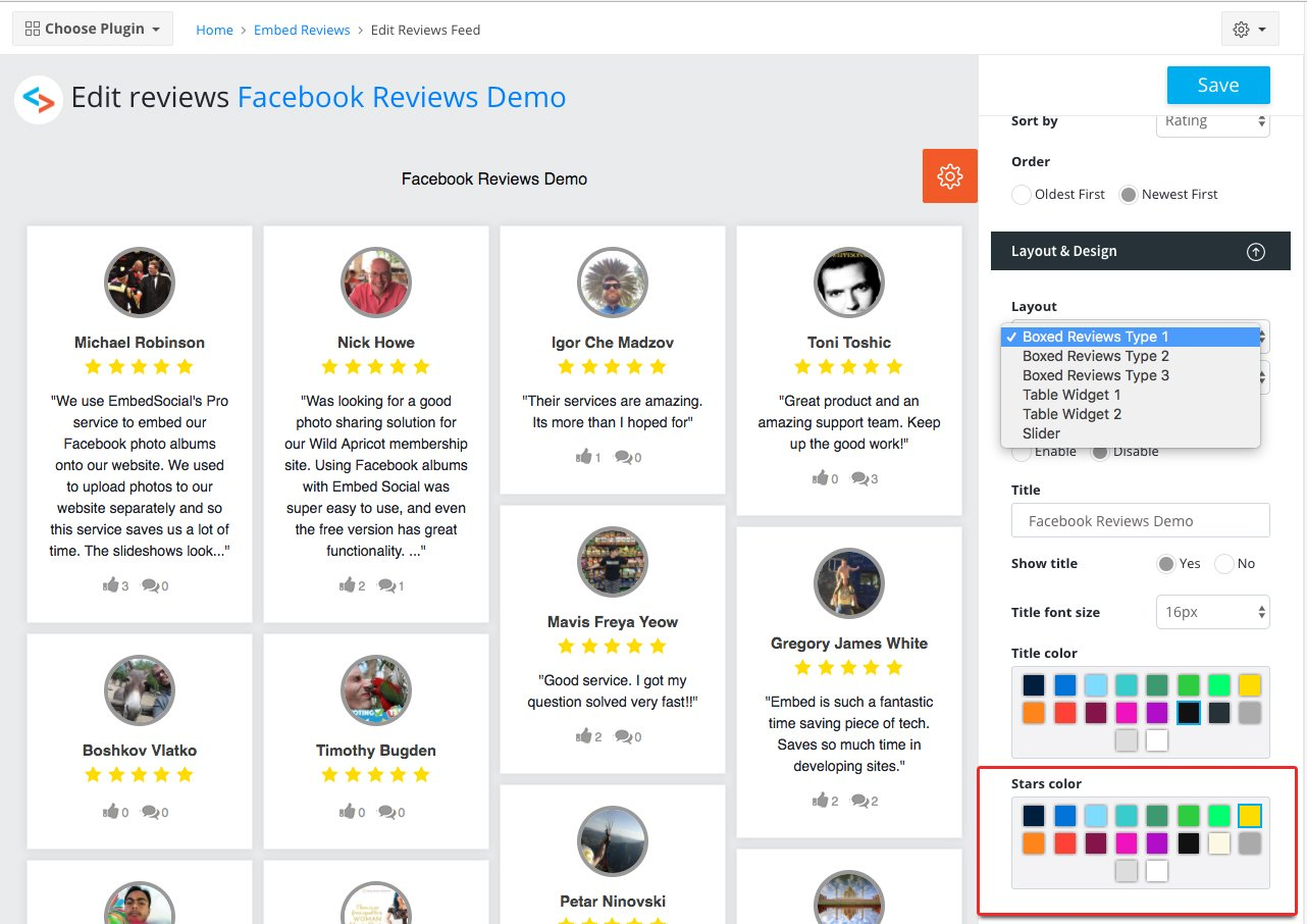 Change reviews widget stars color