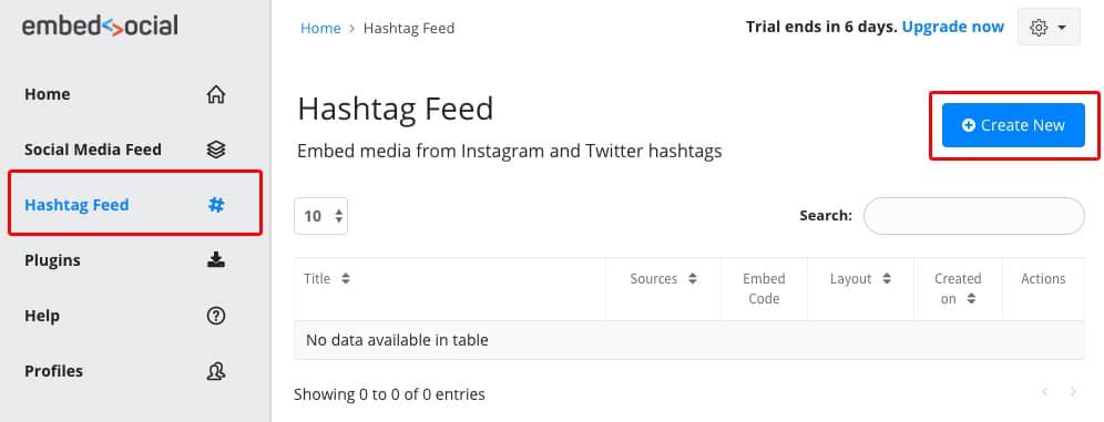 new hashtag feed