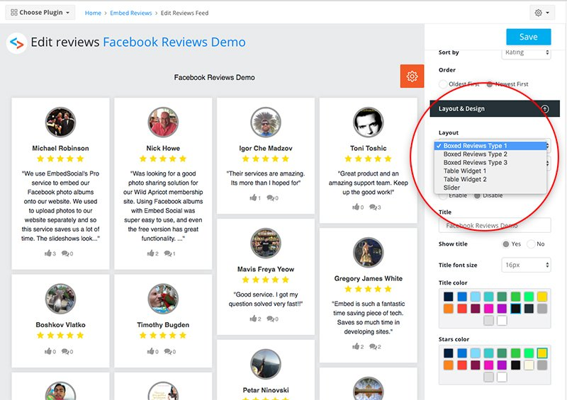 Facebook Reviews widget layout