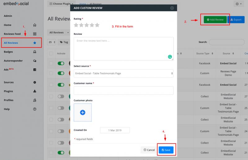 embed custom reviews website