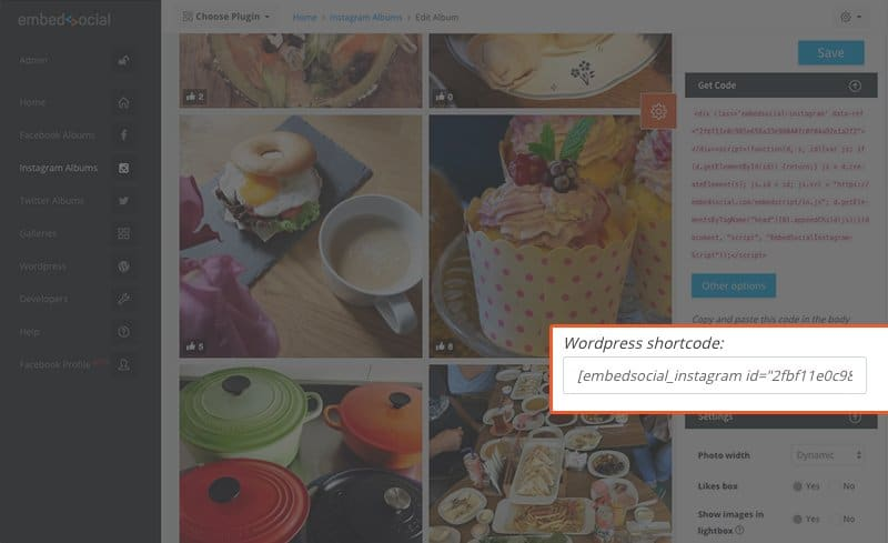 WordPress shortcode for instagram hashtag feed