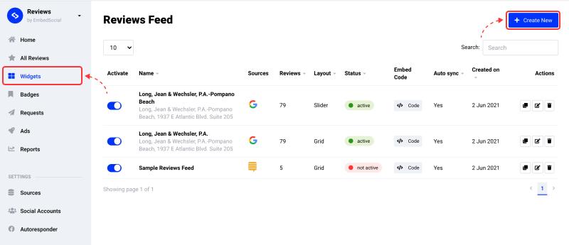 create reviews widget