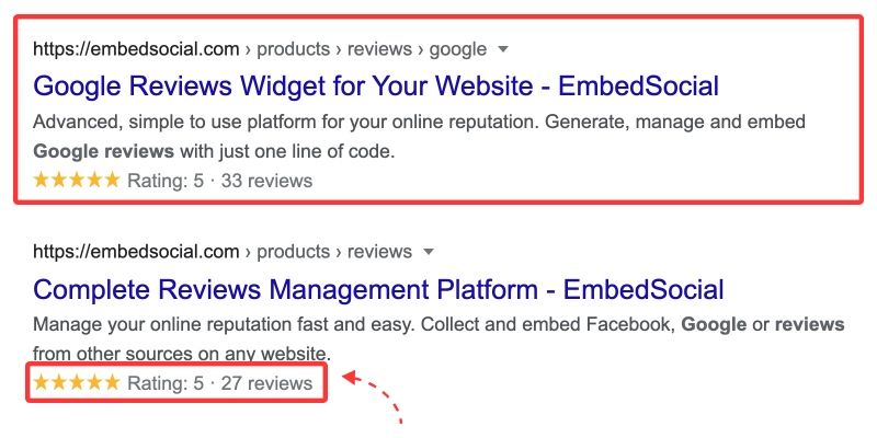 reviews seo stars snippet google search