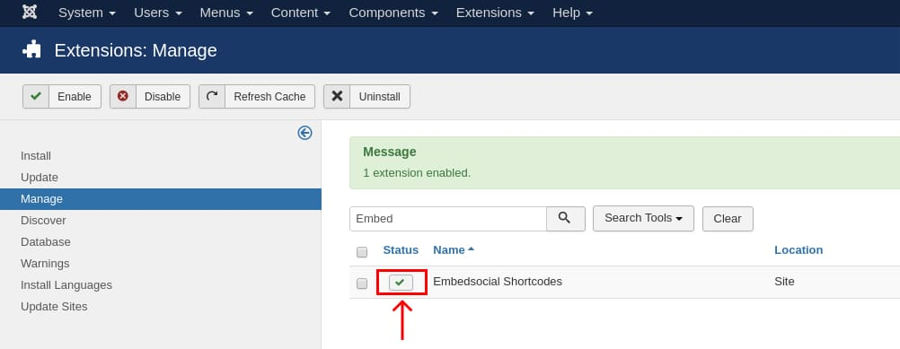 joompla extension embedsocial enabled