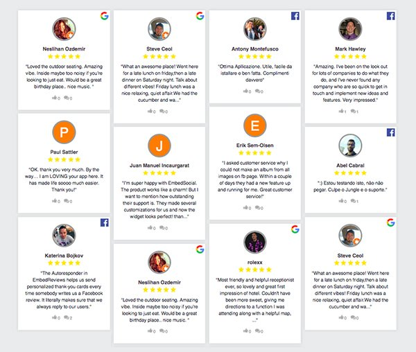 yelp google facebook reviews on website