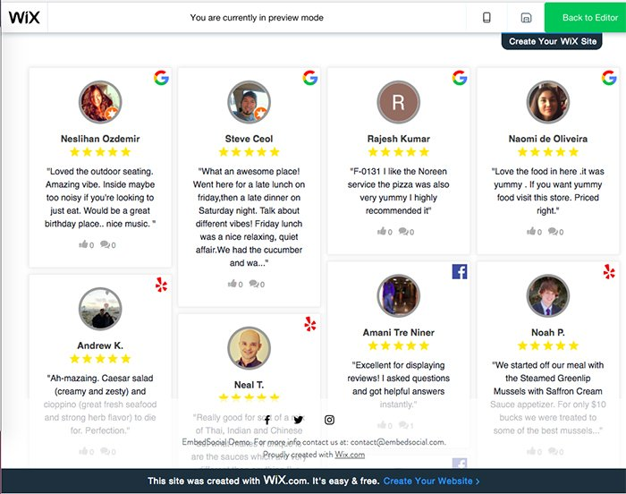 Demo reviews widget for Wix