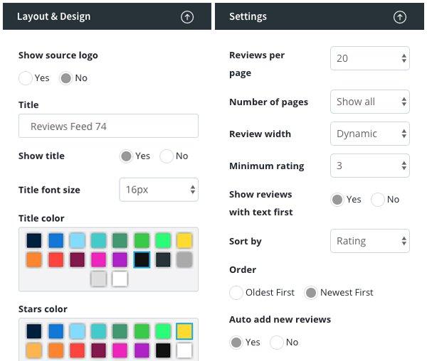 customize website reviews widget