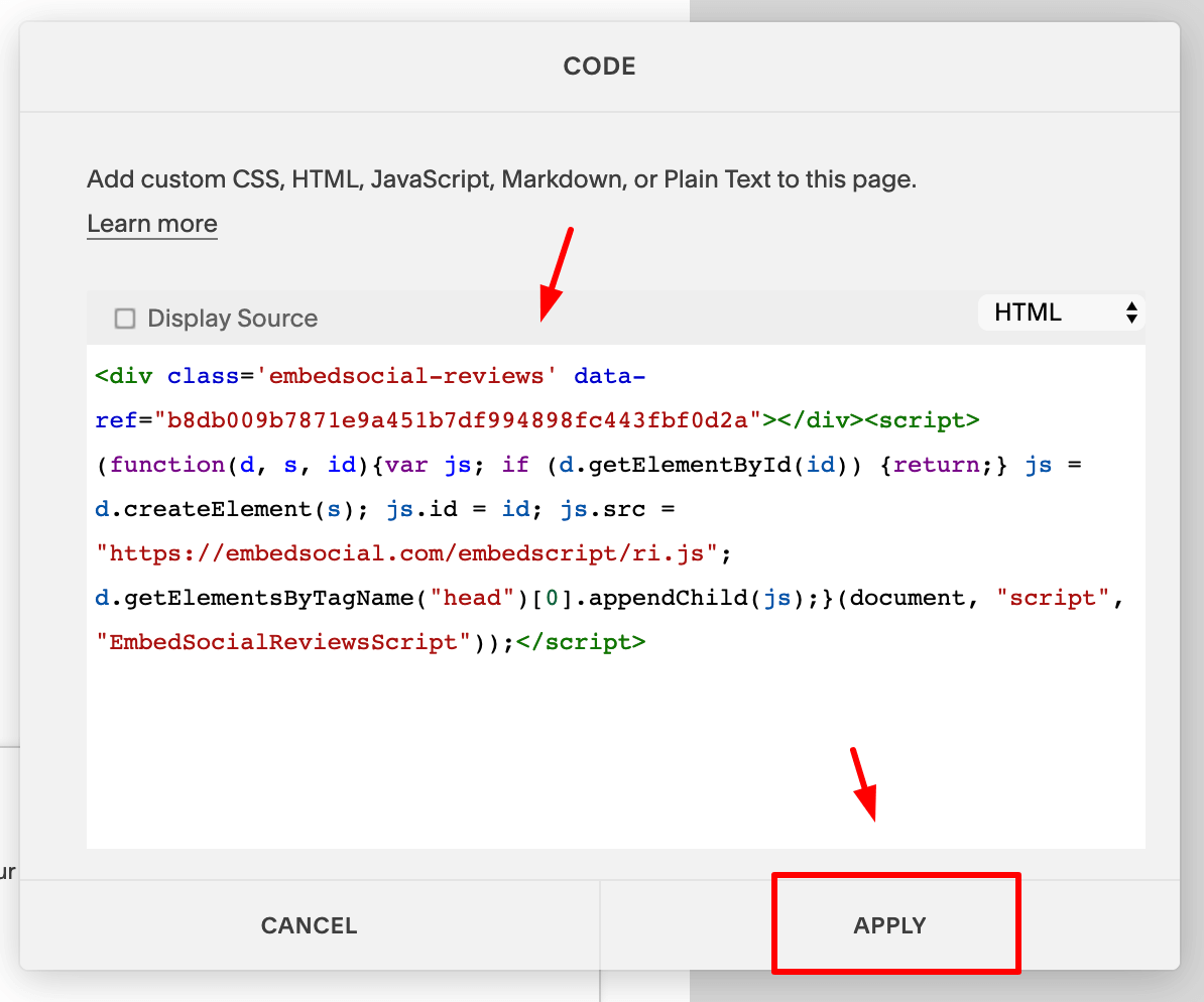 Paste code in Squarespace