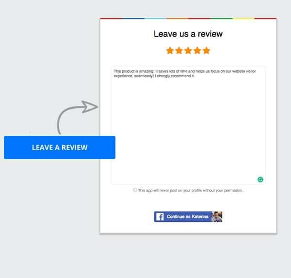 Website collect reviews widget button