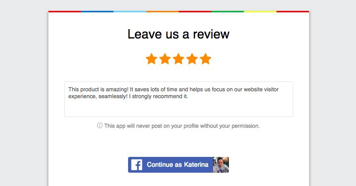 authenticate reviews with Facebook login