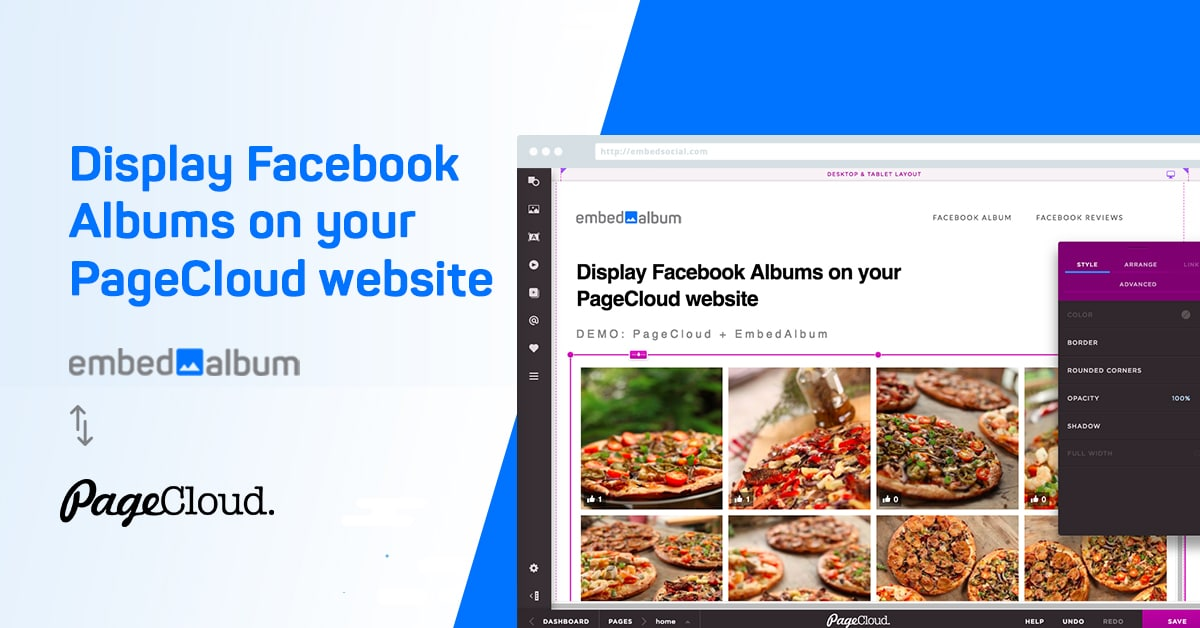 Embed Facebook album in PageCloud