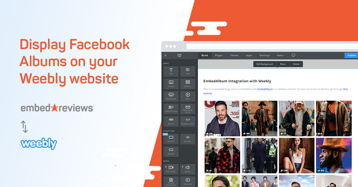 how to embed facebook album in weebly website