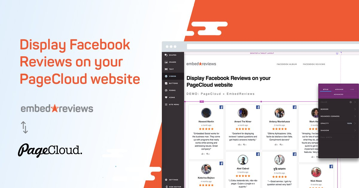 Embed Facebook reviews in PageCloud website