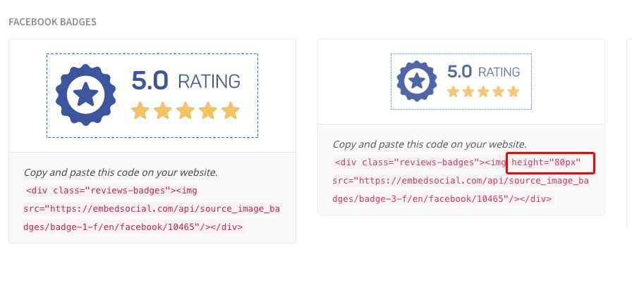 reviews badge size