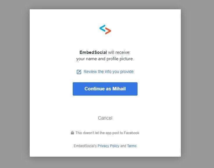 allow facebook permissions