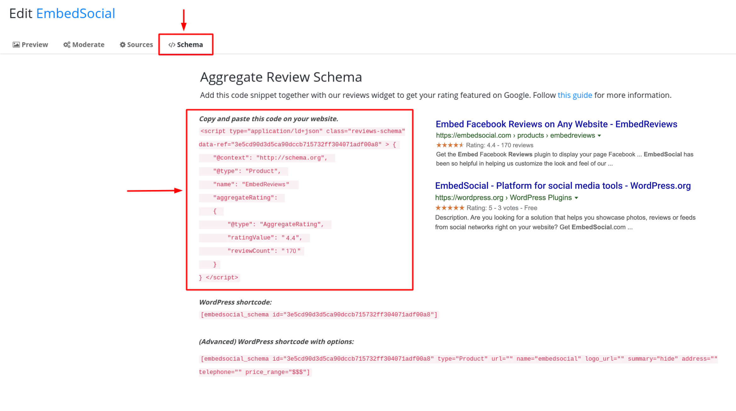 ggregated rating schema