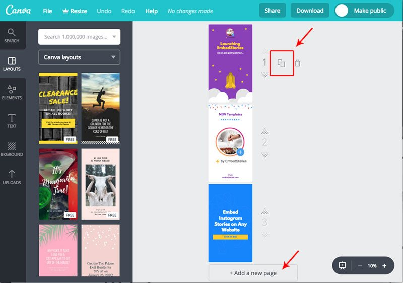 Add story page in Canva