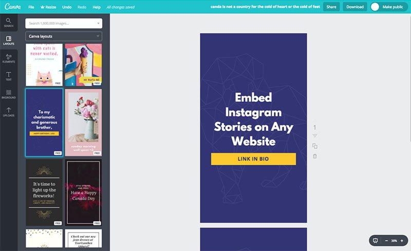 Design instagram story in Canva