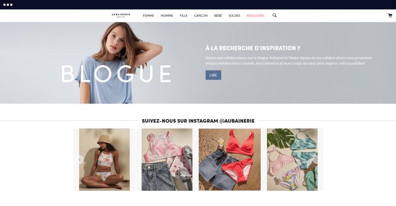 embedsocial customer, aubainerie website, instagram feed,