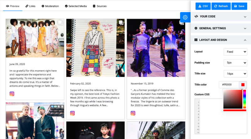 customization options of instagram widgets