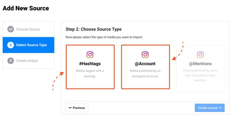 choose instagram source type, instagram hashtags, instagram account
