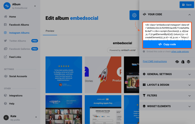 Embed Code for Instagram Feed
