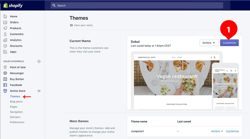 edit theme in Shopify