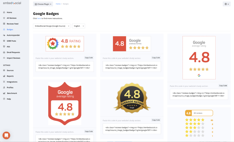 google reviews badges by embedsocial
