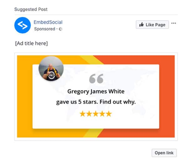 reviews into facebook ads
