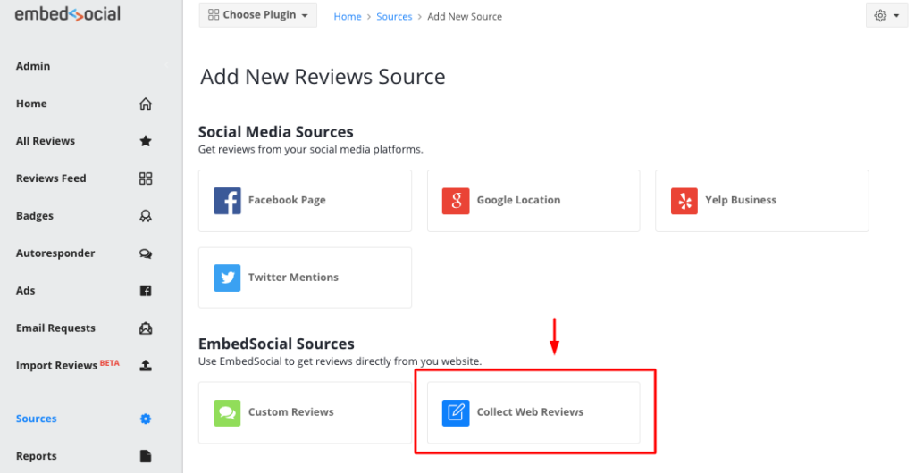 web collect reviews source