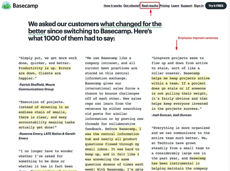 Basecamp customer testimonials