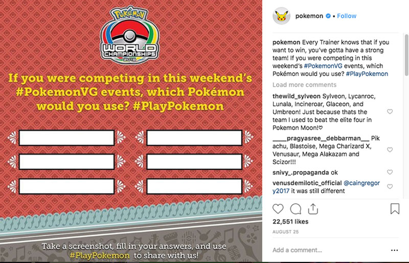 pokemon Instagram account