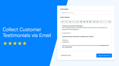 email system for collecting reviews