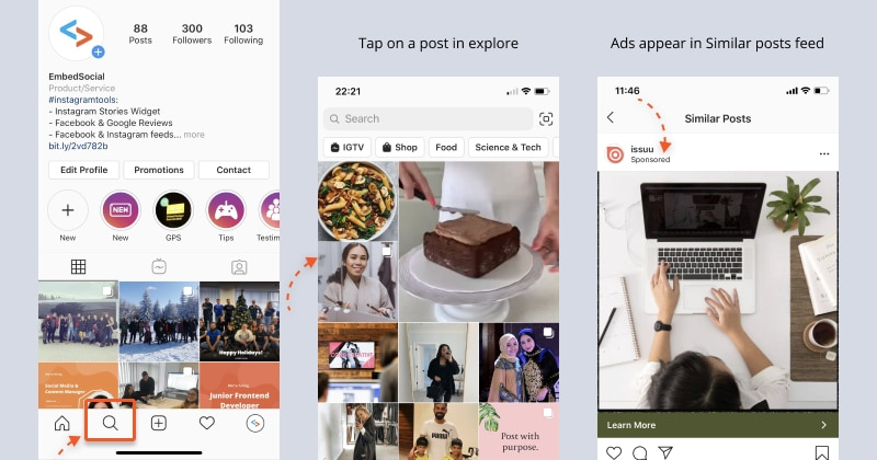 show Instagram ads in Explore tab