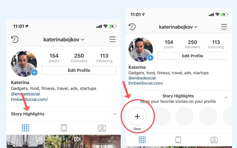 Create new Instagram story highlights