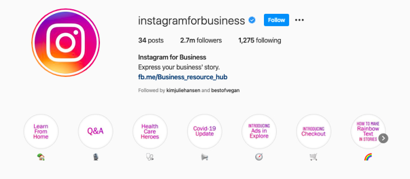 instagram for business cover icons