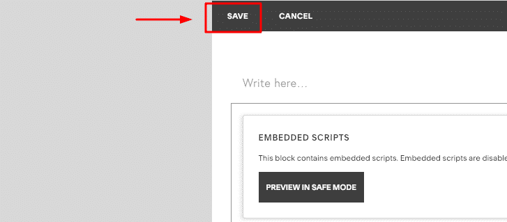 save code in squarespace