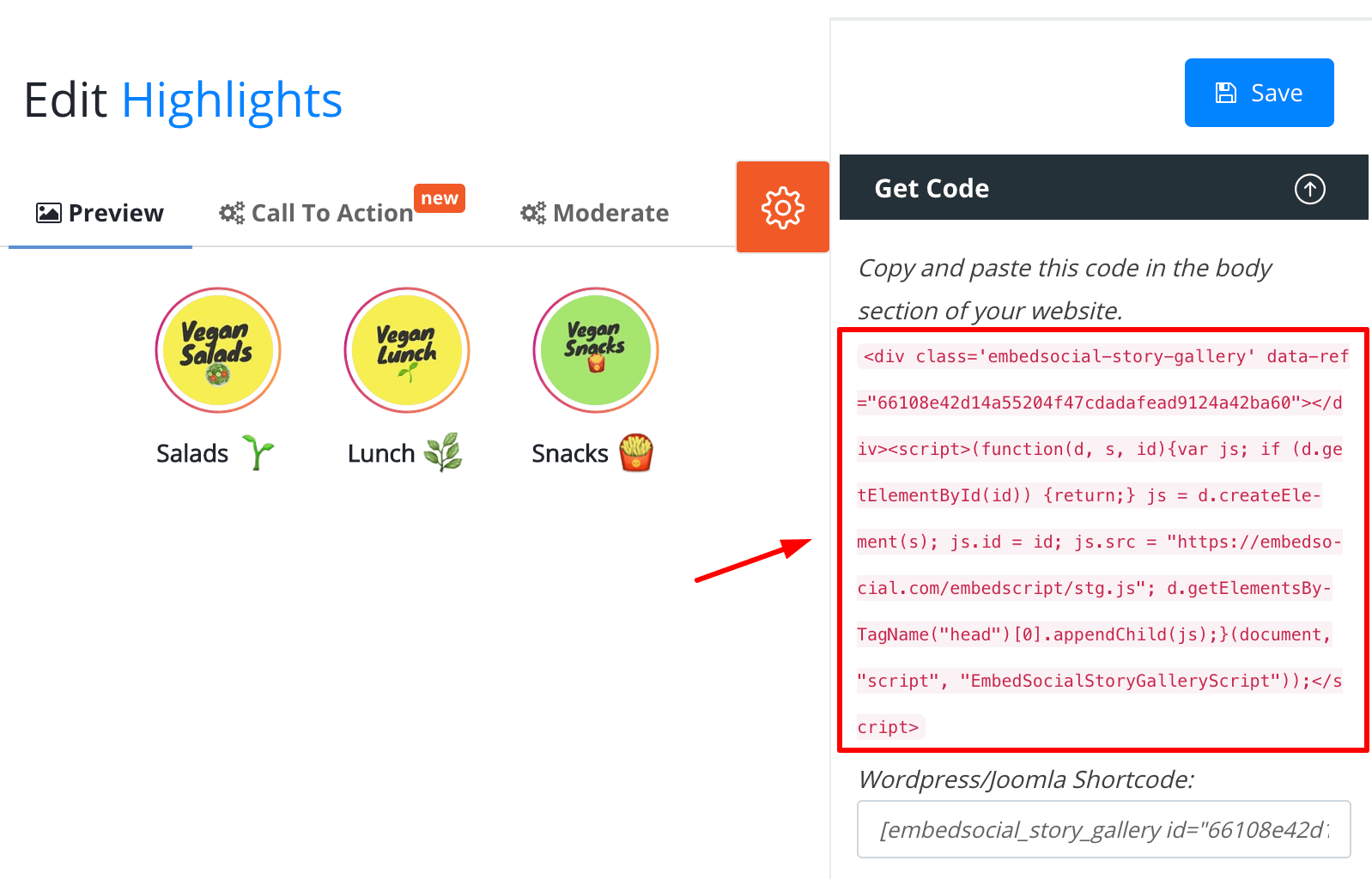 embeddable code for Instagram highlights