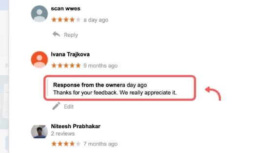 google reviews respond