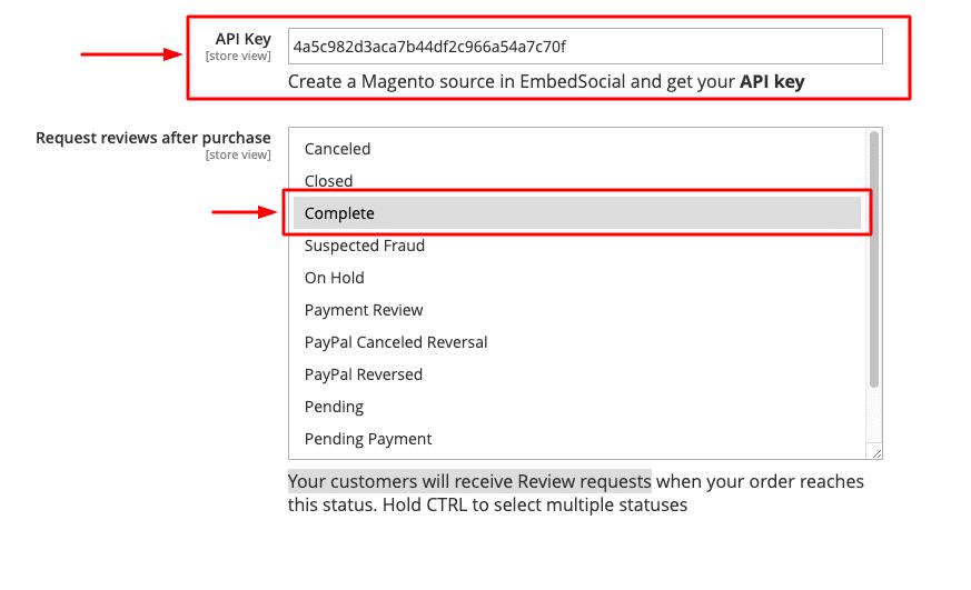 EmbedSocial Magento API key