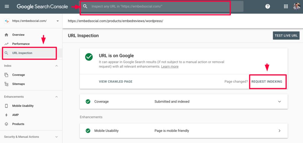 google console request index