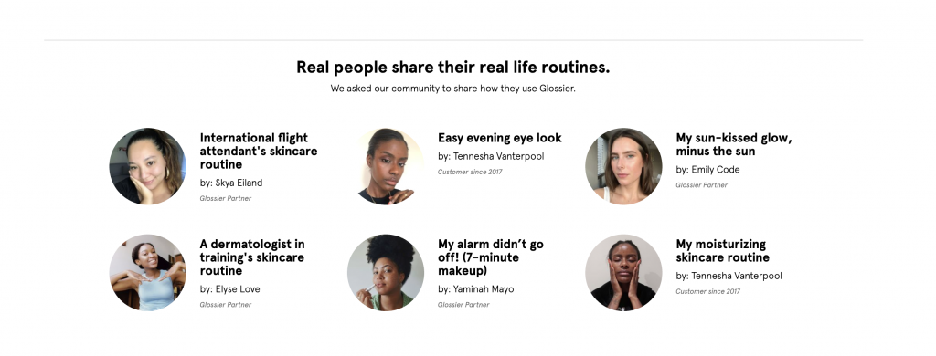glossier user-generated content