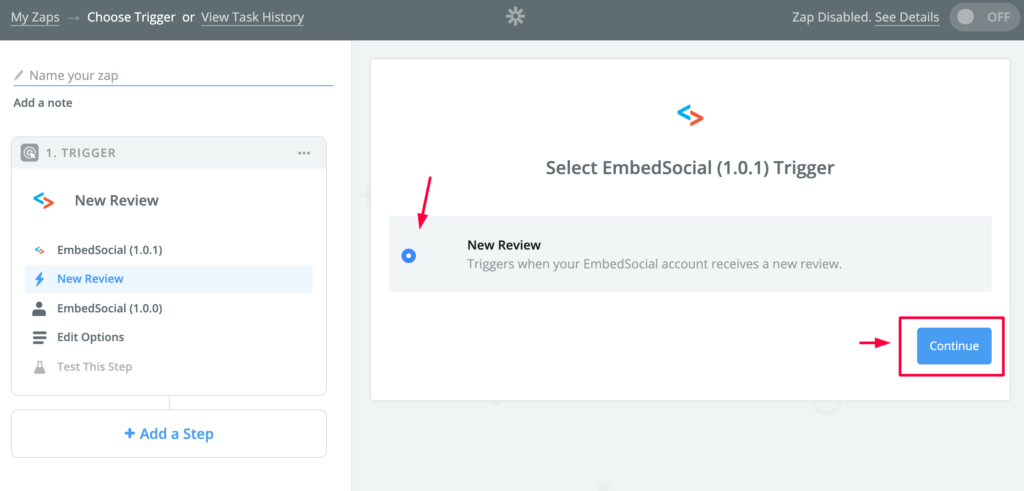 select embedsocial trigger