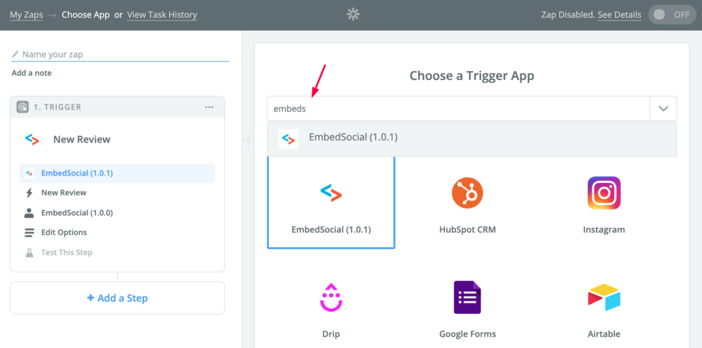 choose embedsocial as trigger in zapier