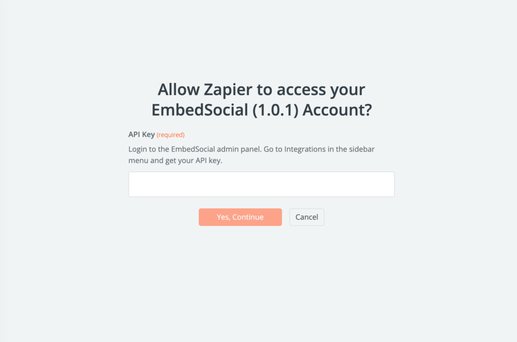 embedsocial api key for zapier