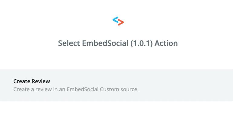 EmbedSocial zapier action