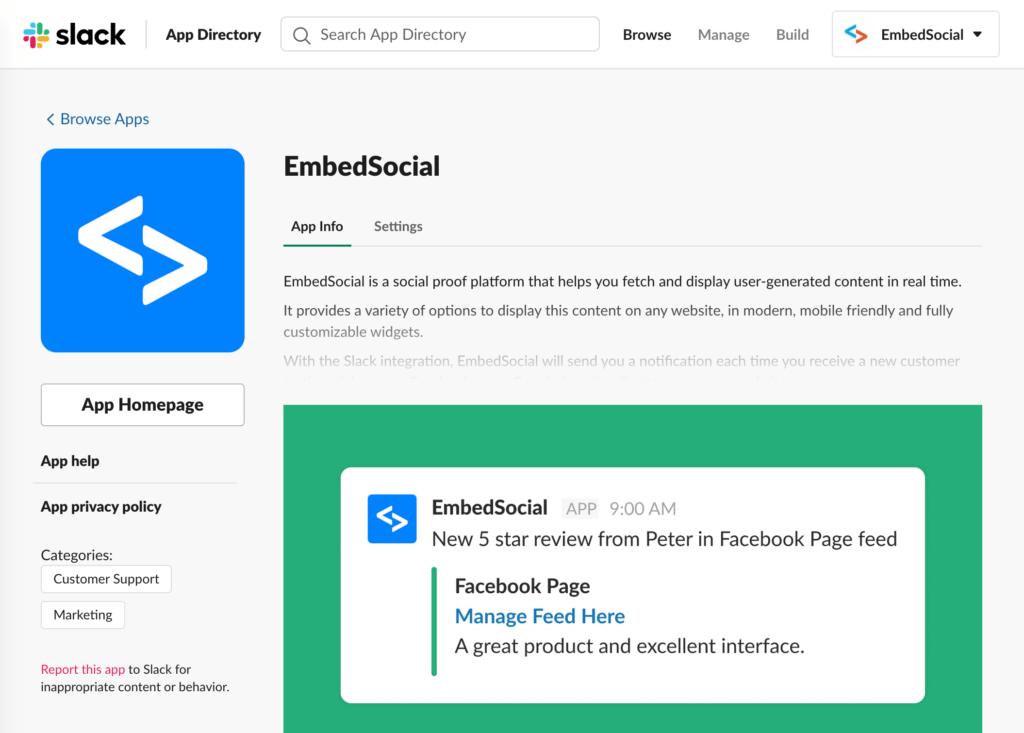 embedsocial slack app