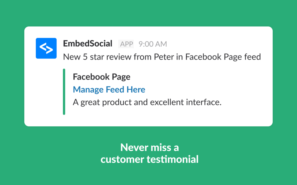embed reviews slack bot notifications