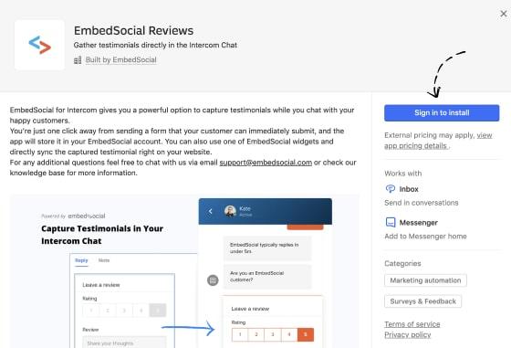 Install Intercom reviews app