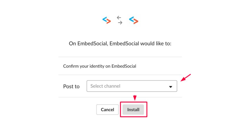 install EmbedSocial Slack App